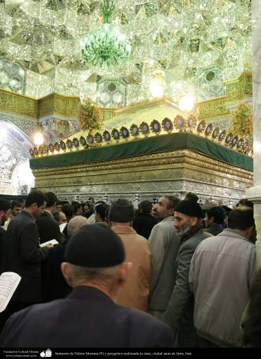 Shrine of Fatima Masuma (P) and ziara pilgrims performing the holy city of Qom - 96