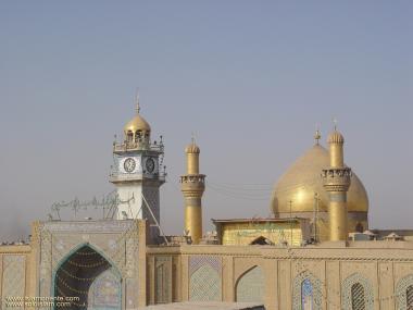 vista da cúpula e minaretes do Santuário do Imam Ali (AS)