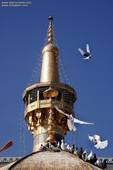 معماری اسلامی - نمایی از مناره و کبوتر حرم مطهر امام رضا (ع) - قدس رضوی در شهرستان مقدس مشهد، ایران - 39