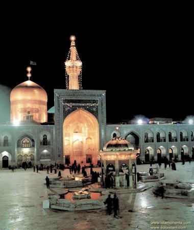 Vista nocturna del Santuario del Imam Reda (a.s.) en la ciudad de Mashhad - 32