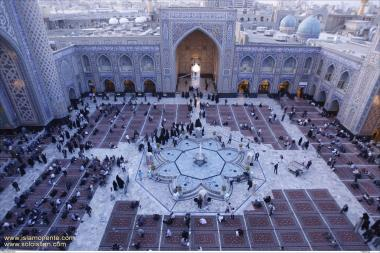 Courtyard at Imam Reza's Holy Shrine with a fountain water in the middle for ritual ablution
