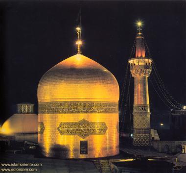 Vue de nuit du dôme doré au sanctuaire de l'imam Reda (as) / Mashhad - 26
