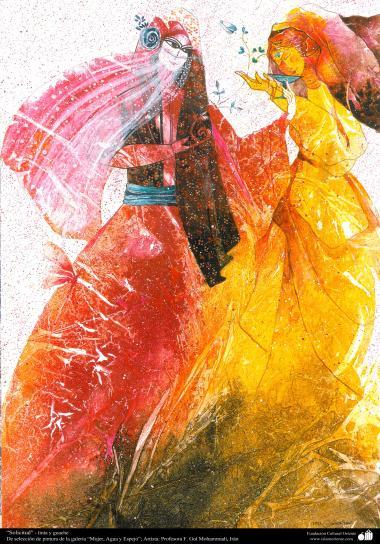 """هنراسلامی - نقاشی - جوهر و گواش - انتخاب نقاشی از گالری """"زنان، آب و آینه"""" - اثر استاد گل محمدی - """"سفارش"""""""