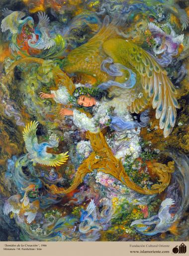 Sounds of creation - persian painting - Farshchian