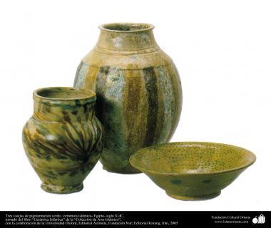 Tres vasijas de pigmentación verde– cerámica islámica- Egipto- siglo X dC.