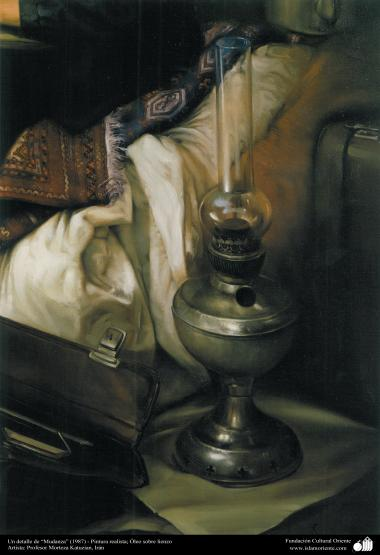 """A detail of """"Moving"""" (1987) - realistic painting; Oil on Canvas- Artist: Prof. Morteza Katuzian, Irán"""