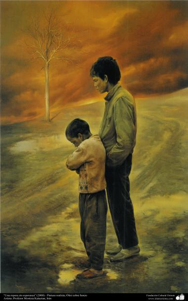 """Arte islamica-Pittura-Olio su tela-Opera di maestro Morteza Katusian-""""Attesa senza speranza""""-2000"""