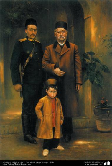 """A traditional Iranian family (1993) - Realistic Painting, Oil on Canvas- Artist: Prof. Morteza Katuzian, Iran"