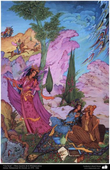 """""""Eine Feier"""" - Persische Meisterstücke in Miniatur - Künstler: Mohammad Ali Zawieh, in 1970 - Islamische Kunst"""
