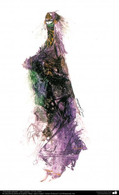 イスラム美術、インク・ガッシュ(ゴルモハマデイ画家の「女性、水と鏡ギャラリ」からの「アルメニア人の女の人」)