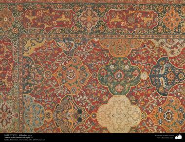 هنر اسلامی - صنایع دستی - هنر نساجی قالی -  بخشی از فرش -  اواخر قرن یازدهم
