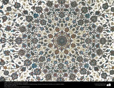 Una parte de alfombra persa realizada en la ciudad de Isfahan – Irán en 1951