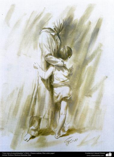 """""""Una vista a la incertidumbre"""" (1983) - Pintura realista; Óleo sobre papel- Artista: Profesor Morteza Katuzian"""