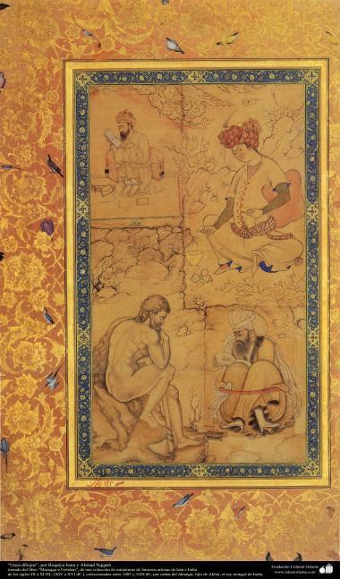 """""""Zeichnungen"""", von Roqaiya banu und Ahmad Nqqasch - Miniatur aus dem Buch """"Muraqqa-e Golshan"""" - 1605 und 1628 n.Chr. - Islamische Kunst - Persische Miniatur"""