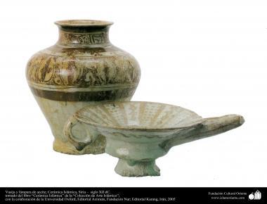 イスラム美術 - イスラム陶器やセラミックス- 花瓶、オイルランプ - シリア、12世紀 - 78