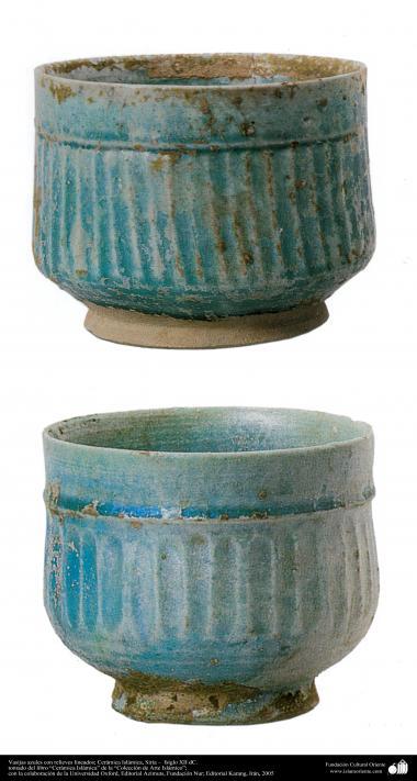 Art islamique - la poterie et la céramique islamiques - Vase de poterie turquoise-Syrie -XIIe  siècle-13
