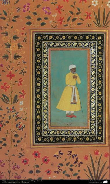 """""""Der Ältere""""- Minatur erstellt während der ersten Hälfte des XVII Jahrhunderts, entnommen aus dem Buch """"Muraqqa"""", Indien und Iran - Islamische Kunst - Persische Miniatur - Miniaturen von verschiedenen Künstlern"""