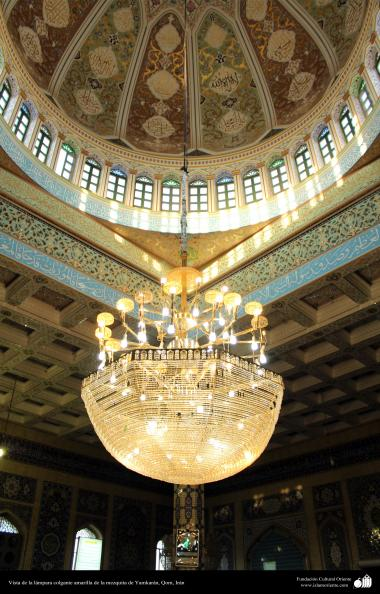 View of yellow pendant lamp mosque Yamkaran City Qom