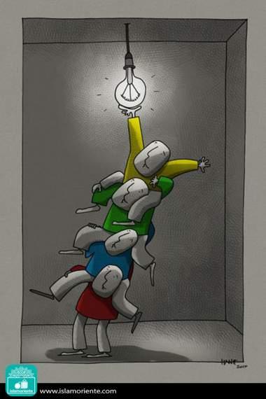 Caricatura - Alcançando o objetivo