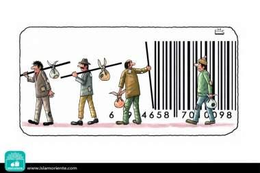 Codes of mass exploitation (Caricature)