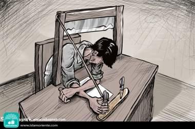 Entre la guillotina y el pensamiento (Caricatura)