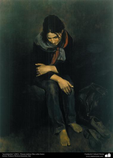 """استاد مرتضی کاتوزیان کی پینٹنگ، """"تردید"""" - ایران ، سن ۲۰۰۳ء"""