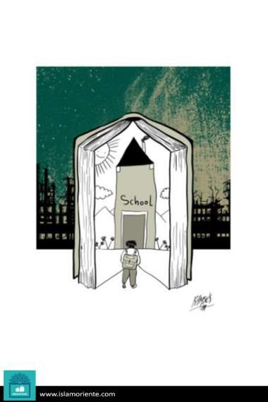 Llegando a la escuela (Caricatura)