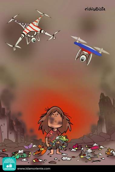 Caricatura - No centro da destruição