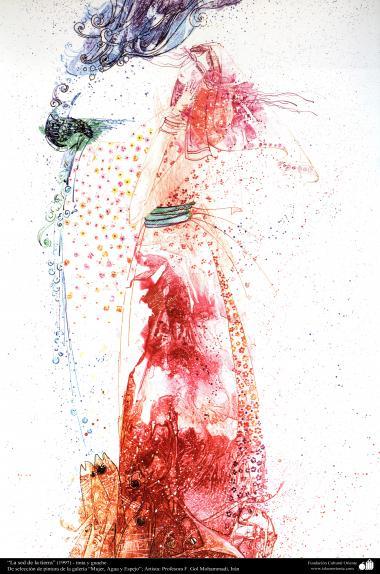 """Art Islamique - Peinture - Encre et gouache -  de la galerie """"Les femmes, l'eau et des miroirs"""" - artiste:Gol Mohammadi -terre de la soif-1997"""