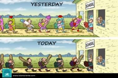 Retrocesos estudiantiles (Caricatura)